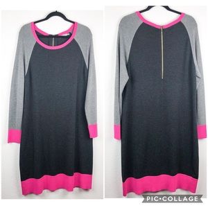 Eliza J Gray Pink Colorblock Sweater Dress Size L